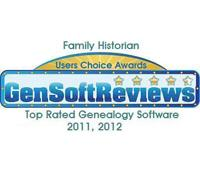 Top Rated Genealogy Software Award