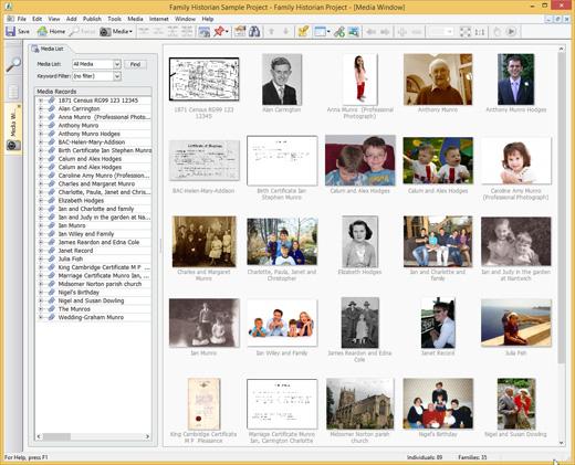 Media Window - thumbnails